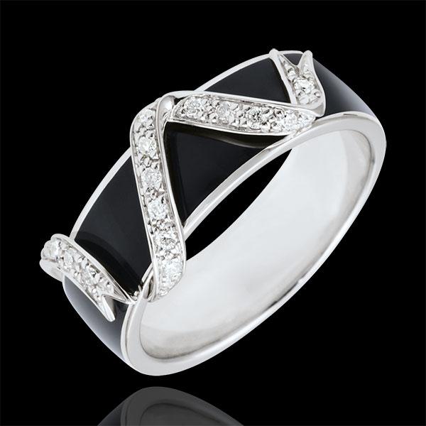 Anillo Claroscuro - Polvo de Estrellas - oro blanco 18 quilates - laca negra y diamantes