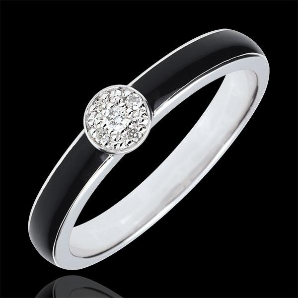 Anillo Claroscuro Solitario - oro blanco 18 quilates - laca negra y diamantes 0.04 quilates