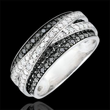 Anillo Claroscuro - Sombra escondida - oro blanco 9 quilates y diamantes negros
