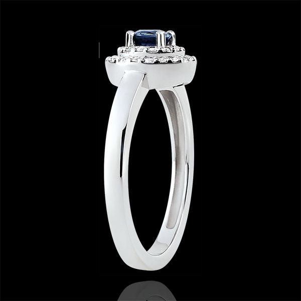 Anillo de compromiso Destino - Doble Halo - zafiro y diamantes 0.3 quilates - oro blanco 18 quilates