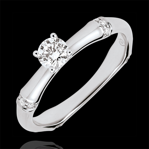 Anillo de compromiso Jungla Sagrada - diamante 0,2 quilates - oro blanco 18 quilates