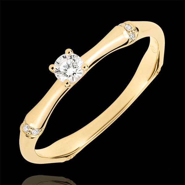Anillo de compromiso Jungla Sagrada - oro amarillo 9 quilates - diamante 0,09 quilates