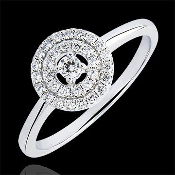 Anillo de Compromiso Origen - Doble Halo - oro blanco de 9 quilates y diamantes