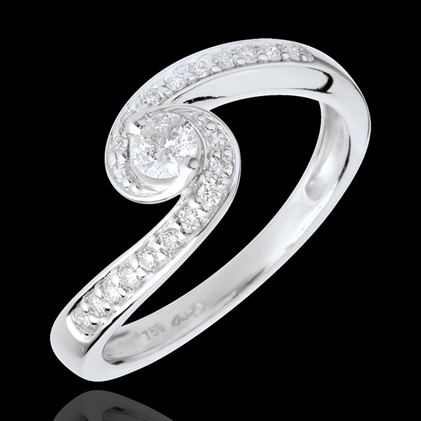 Anillo de compromiso - Solitario acuario empedrado Destino - oro blanco 18 quilates - diamantes 0.13 quilates