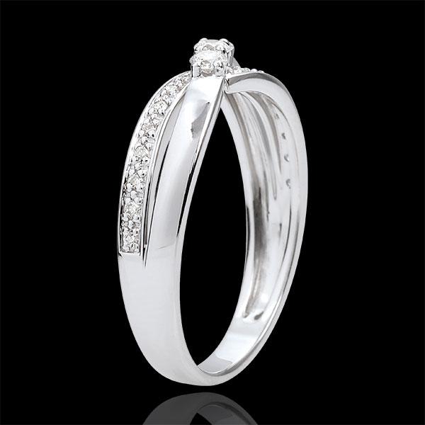 Anillo de compromiso Trilogía Nido Precioso - Auréa - oro blanco 9 quilates y diamantes