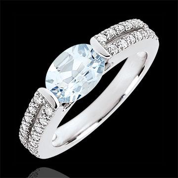 Anillo de compromiso Victoria - oro blanco 18 quilates - aguamarina y diamantes