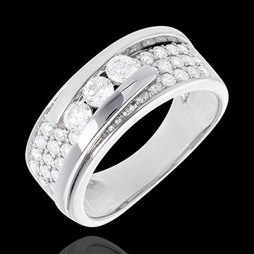 Anillo Constelación - Trilogía con pavimento desplazado - oro blanco 18 quilates - 35 diamantes 0. 86 quilates