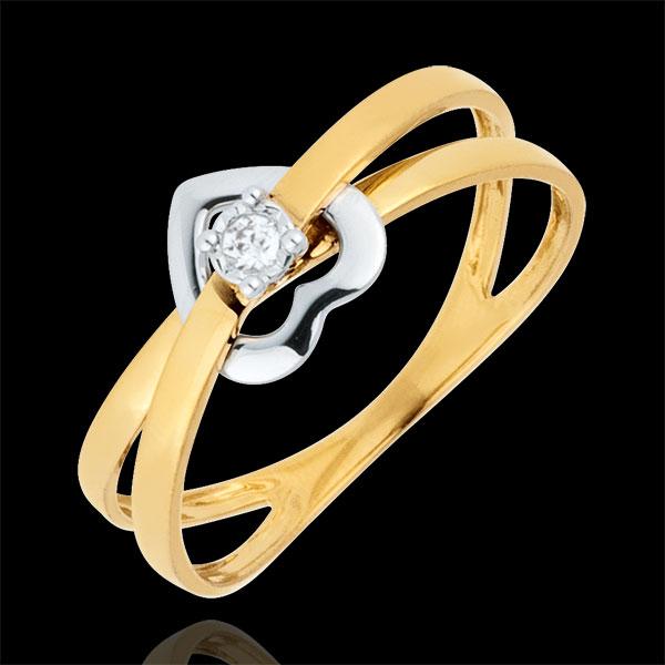 Anillo Corazón Entrelazado - oro rosa y oro blanco 9 quilates