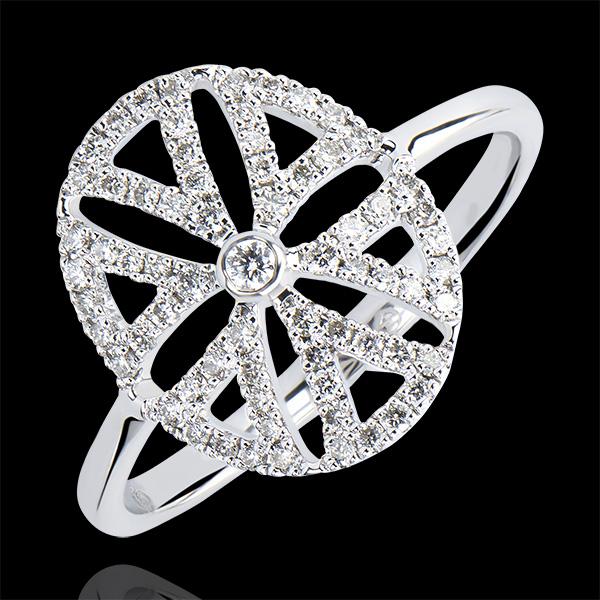 Anillo Destino- Arabesco variación - oro blanco de 9 quilates y diamantes