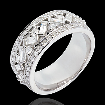 Anillo Destino - Emperatriz - oro blanco 18 quilates - diamantes 0. 9 quilates