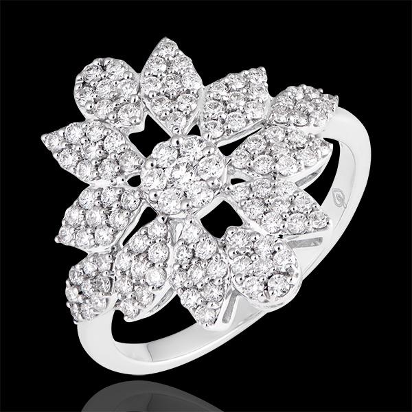 Anillo Destino - Flor de Invierno - oro blanco de 9 quilates y diamantes