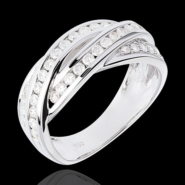 Anillo Destino - Trenzado - oro blanco empedrado 18 quilates - 38 diamantes 0.63 quilates