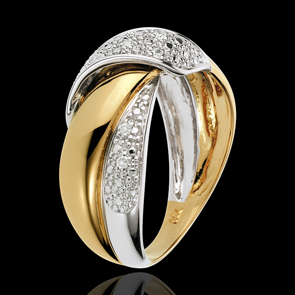 Anillo Doble Nudo - oro blanco y oro amarillo 18 quilates