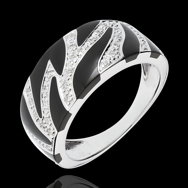 Anillo Felino Salvaje - oro blanco 18 quilates - laca negra y diamantes
