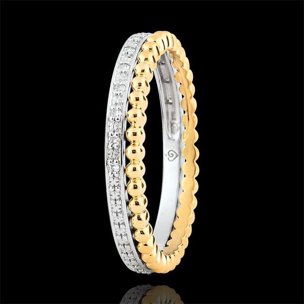 Anillo Flor de Sal - doble vuelta - 13 diamantes - oro amarillo y oro blanco 9 quilates