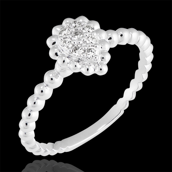 Anillo Flor de Sal - Lágrima perlada - oro blanco de 18 quilates y diamantes