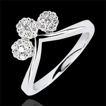Anillo Frescura - Esquejes - oro blanco de 9 quilates y diamantes