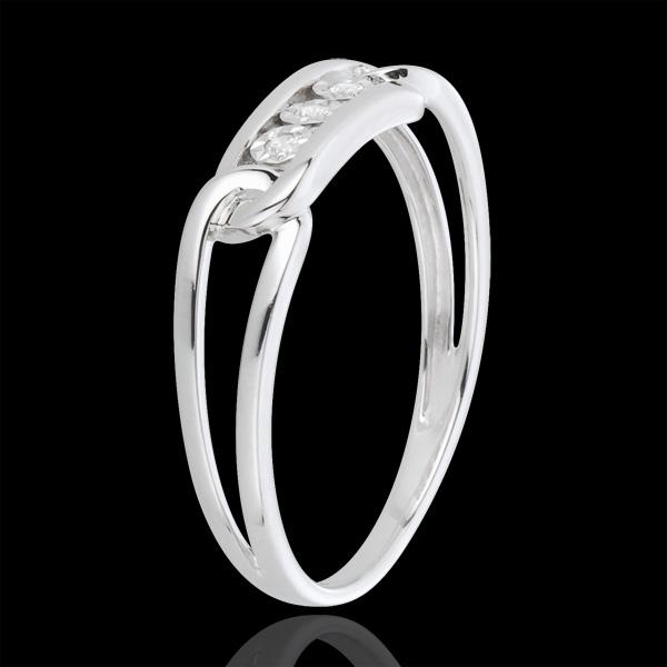 Anillo Fuerza - oro blanco 18 quilates y diamantes