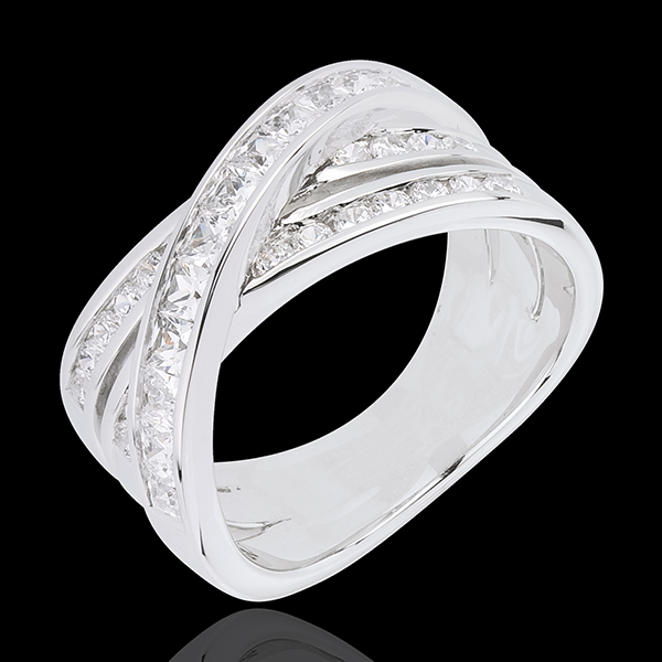 Anillo Gran Saturno - oro blanco 18 quilates y diamantes