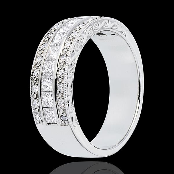 Anillo Hada - Camino a Venus - oro blanco 18 quilates semi pavimentado - 35 diamantes 0. 87 quilates