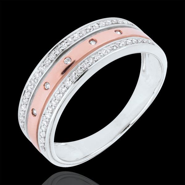 Anillo Hada - Corona de Estrellas - gran modelo - oro rosa y oro blanco 9 quilates