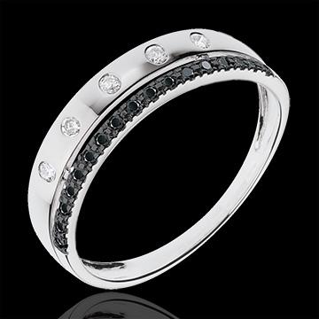 Anillo Hada - Corona de Estrellas - pequeño modelo - oro blanco 18 quilates - diamantes negros
