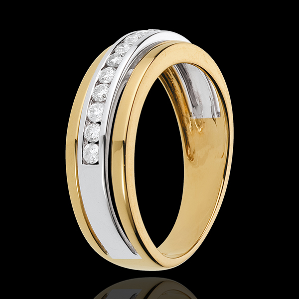 Anillo Hada - Solar - oro blanco y oro amarillo 18 quilates - 11 diamantes 0. 24 quilates