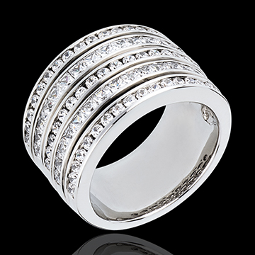 Anillo Hada - Vía Láctea - oro blanco 18 quilates pavimentado - 81 diamantes 2. 42 quilates
