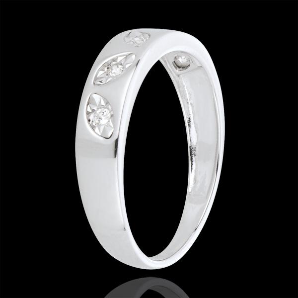 Anillo Hojas - oro blanco 18 quilates - 5 diamantes