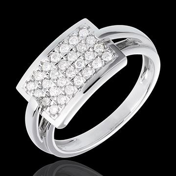Anillo insignia empedrado - oro blanco 18 quilates - 28 diamantes