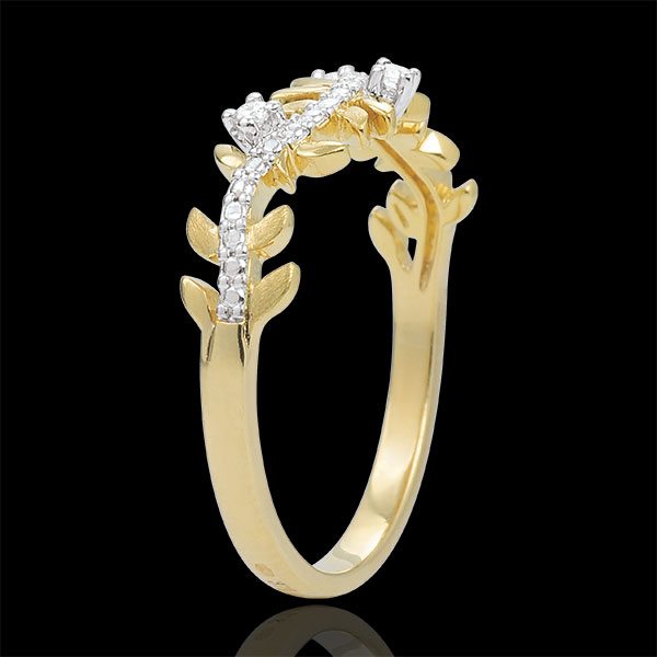 Anillo Jardín Encantado - Follaje Real - diamante y oro amarillo 18 quilates