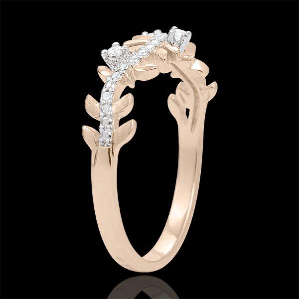 Anillo Jardín Encantado - Follaje Real - diamante y oro rosa 9 quilates