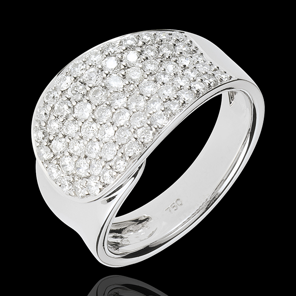 Anillo Lengua de Diamantes - oro blanco 18 quilates