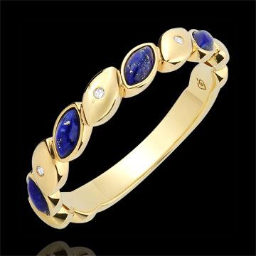 Anillo de matrimonio Felicidad - Lapis Lazulis y diamantes - oro amarillo 9 quilates