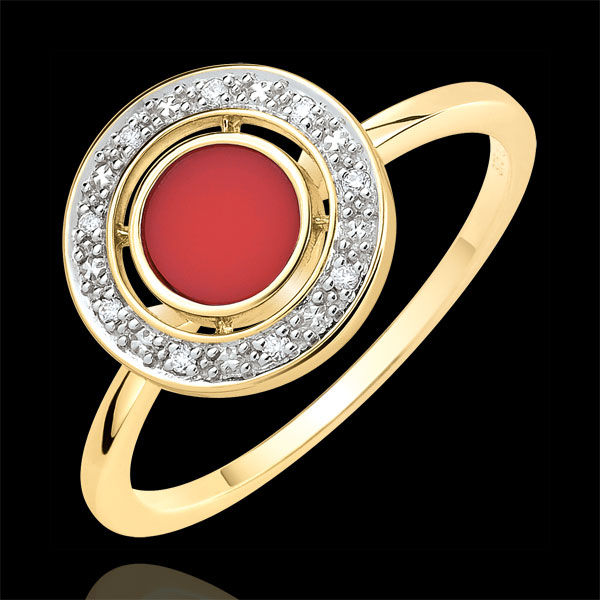 Anillo de matrimonio Felicidad - oro amarillo 18 quilates - cornalina y diamantes