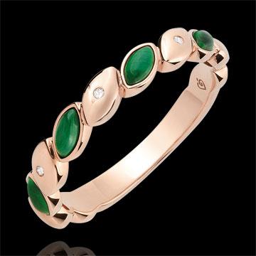 Anillo de matrimonio Felicidad - oro roso 9 quilates - Malaquita y diamantes
