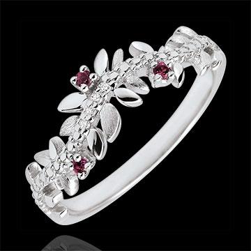 Anillo Jardìn Encantado - Follaje Real - oro blanco 9 quilates - diamantes e rhodolites -
