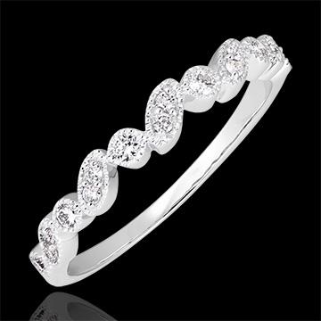 Anillo de Matrimonio Mirada Levante - variación - oro blanco de 18 quilates y diamantes