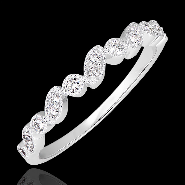 Anillo de Matrimonio Mirada Levante - variación - oro blanco de 9 quilates y diamantes