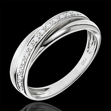 Anillo Saturno diamante - oro blanco 9 quilates