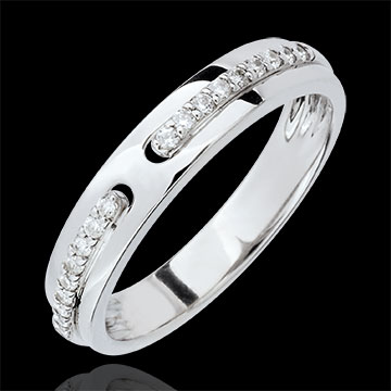 Alianza Promesa - oro blanco y diamantes - gran modelo