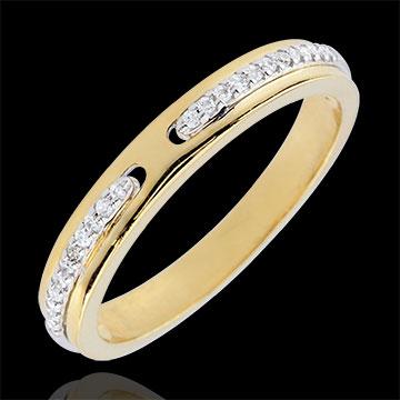 Alianza Promesa - dos oros 18 quilates y diamantes - pequeño modelo
