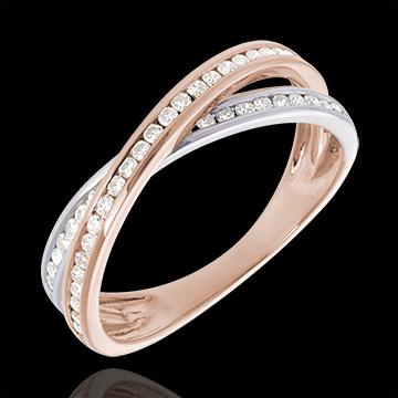Anillo Diamante - oro rosa y oro blaco 18 quilates