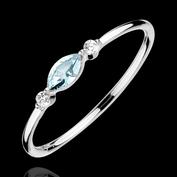Anillo Mirada de Oriente - modelo pequeño - topacio azul y diamantes - oro blanco 9 quilates
