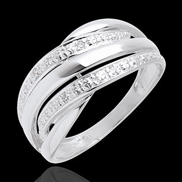 Anillo Naja - oro blanco empedrado 18 quilates y 4 diamantes