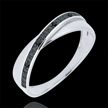 Alianza Saturno Dúo - diamantes negros - 9 quilates