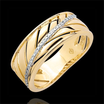 Anillo Palma - oro amarillo 9 quilates y diamantes