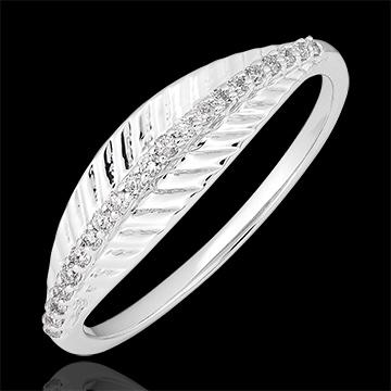 Anillo Palma real - oro blanco de 9 quilates y diamantes