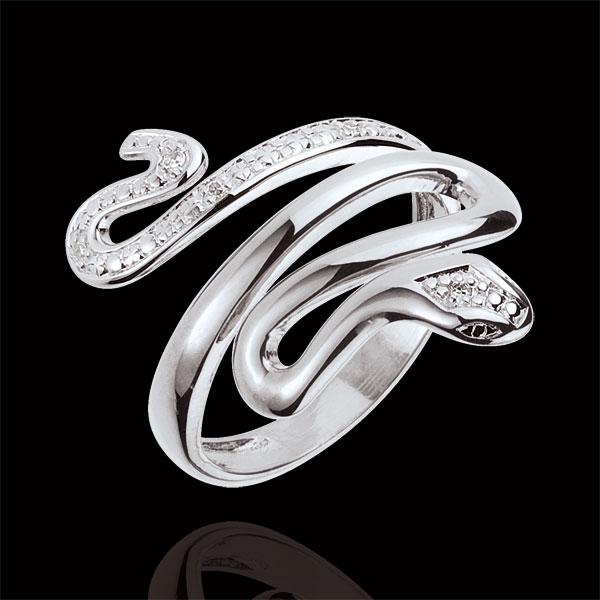 Anillo Paseo Soñado - Preciosa Amenaza - oro blanco 9 quilates y diamantes