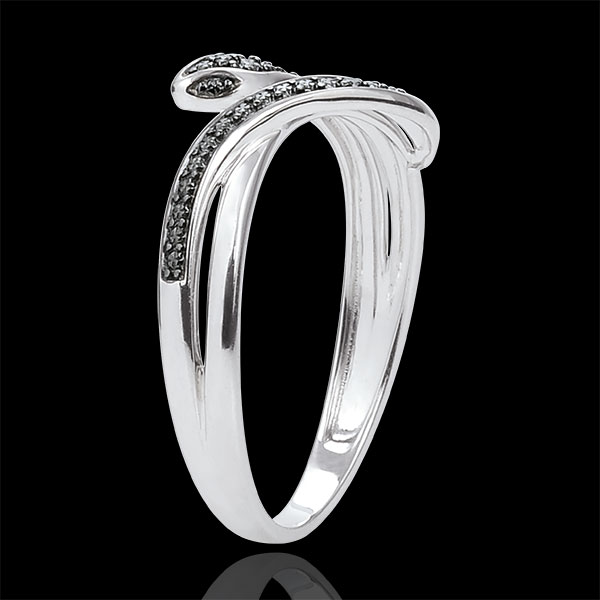 Anillo Paseo Soñado - Serpiente Hechizante - oro blanco 18 quilates y diamantes negros